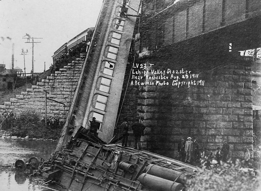 August 25, 1911, Lehigh Valley Railroad train disaster in town of Manchester.